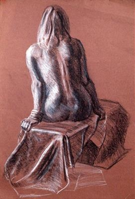 Nude on brown paper