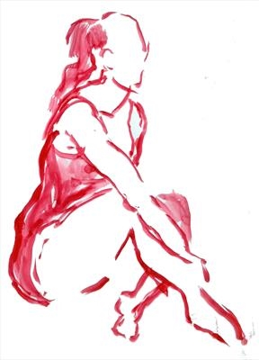 Watercolour drawing of seated dancer - quick sketch