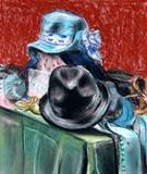 Keep it under your hat! by Richard Waldron, Painting, Pastel on Paper