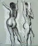 Nude moving pose by Richard Waldron, Drawing, Pastel on Paper