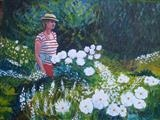 Roberta in the Garden by Richard Waldron, Painting, Acrylic on canvas