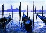 Venice, gondolas by Richard Waldron, Painting, Watercolour on Paper