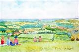 View from Box Hill by Richard Waldron, Painting, Watercolour and pencil