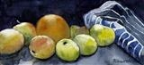 Apples, Orange and Apron by Richard Waldron, Painting, Watercolour on Paper