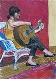 Girl with guitar by Richard Waldron, Painting, Pastel on Paper