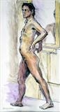 Male nude with mirror by Richard Waldron, Drawing, conte and watercolour