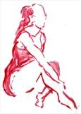 Watercolour drawing of seated dancer - quick sketch by Richard Waldron, Drawing, Watecolour on paper