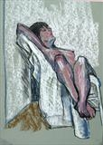 Girl reclining in chair by Richard Waldron, Drawing, Pastel on Paper