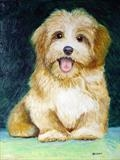 Portrait of Puppy by Richard Waldron, Painting, Oil on Board