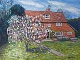 Surrey Country cottage garden by Richard Waldron, Painting, Oil on Board