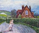 Surrey cottage in landscape by Richard Waldron, Painting, Oil on Board