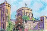 Windsor Castle tower by Richard Waldron, Painting, Pastel & Ink