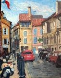 Arles with Pete the Street by Richard Waldron's Art, Painting, Oil on Board