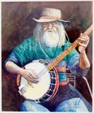 Banjo Player - portrait by Richard Waldron, Painting, Watercolour and pencil