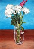 Camelias in glass vase by Richard Waldron, Painting, Acrylic on canvas