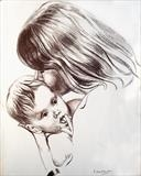 Mother and child by Richard Waldron, Drawing, Conté crayon on paper