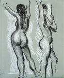 Moving pose by Richard Waldron, Drawing, Charcoal on Paper