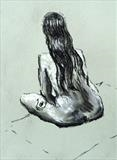 Nude female sitting, back view by Richard Waldron, Drawing, Charcoal on Paper