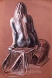 Nude on brown paper by Richard Waldron, Drawing, Pastel on Paper