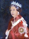 Queen Elizabeth ll of England by Richard Waldron's Art, Painting, Oil on Board