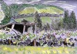 Sketch of field leading to Box Hill by Richard Waldron, Painting, Pastel on Paper