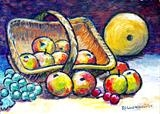 Still life with apples and melon by Richard Waldron, Painting, Acrylic on board