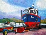 T520 Irish Fishing boat by Richard Waldron, Painting, Acrylic and charcoal on canvas