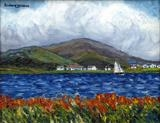 View from Valentia to Cahersiveen by Richard Waldron, Painting, Oil on canvas