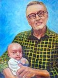William and his Gramps 2020 by Richard Waldron's Art, Painting, Oil on panel