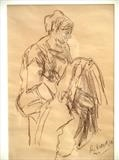 Woman sewing by Richard Waldron, Drawing, Pastel on Paper