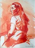 Ink drawing of girl with long hair by Richard Waldron, Drawing, Pen and wash