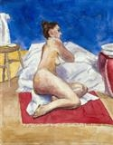 Nude with bowl and mirror by Richard Waldron, Painting, Watercolour and pencil