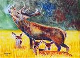 Stag with young by Richard, Painting, Watercolour on Paper