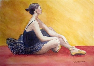 Ballet Dancer seated by Richard Waldron, Giclee Print, Watercolour on Paper