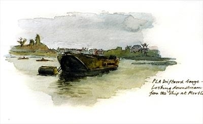 Barge at Hammersmith on the Thames by Richard Waldron's Art, Painting, Watercolour on Paper