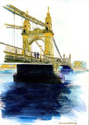 Hammersmith Bridge by Richard Waldron, Painting, Pen and wash