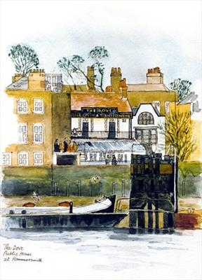 The Dove at Hammersmith, London W by Richard Waldron, Painting, Pen and water-colour wash